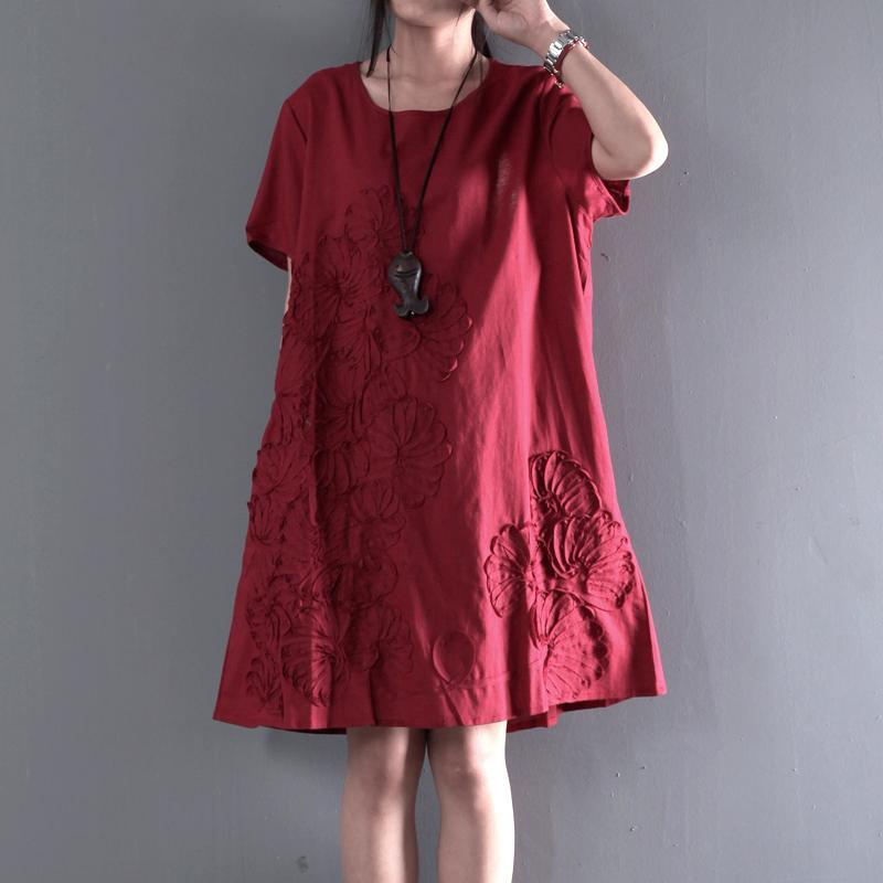 Red linen sundress Appliques summer maternity dresses plus size short sleeve