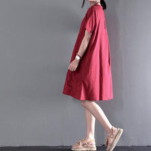 Load image into Gallery viewer, Red linen sundress Appliques summer maternity dresses plus size short sleeve