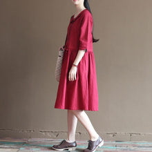 Laden Sie das Bild in den Galerie-Viewer, Red linen sundress half sleeve fit flare dresses