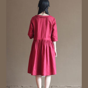 Red linen sundress half sleeve fit flare dresses