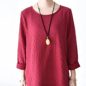 Red long sleeve cotton dresses  winter dress plus size clothing