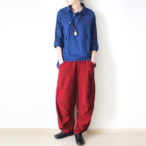 Red loose wide leg linen pants trousers r825