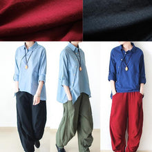 Load image into Gallery viewer, Red loose wide leg linen pants trousers r825