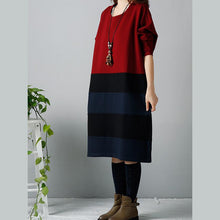 Load image into Gallery viewer, Red oversize warm winter dresses cotton dress