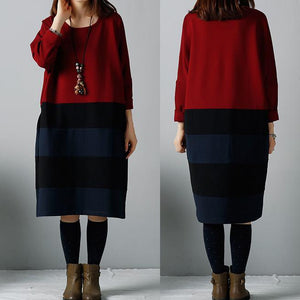 Red oversize warm winter dresses cotton dress