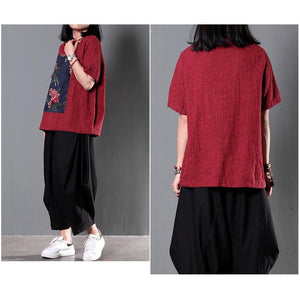Red retro patchwork plus size women shirt summer blouse linen top