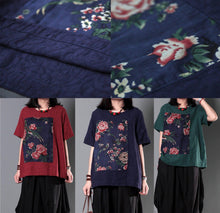 Load image into Gallery viewer, Red retro patchwork plus size women shirt summer blouse linen top