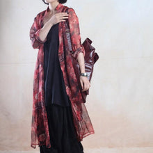 Load image into Gallery viewer, Red see-through dress summer chiffon dress floral long maxi cardigan sundress