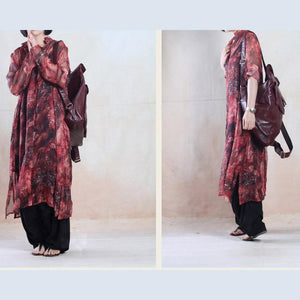 Red see-through dress summer chiffon dress floral long maxi cardigan sundress