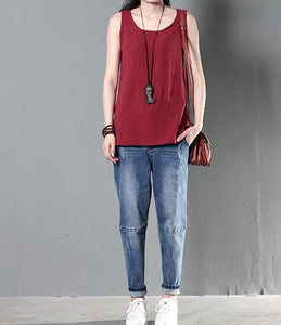 Red women linen top tank causal style blouse shirt