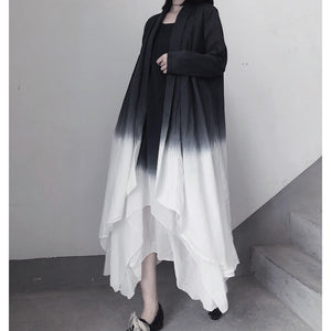 Retro Irregular Double Layer Gradient Cape Coat