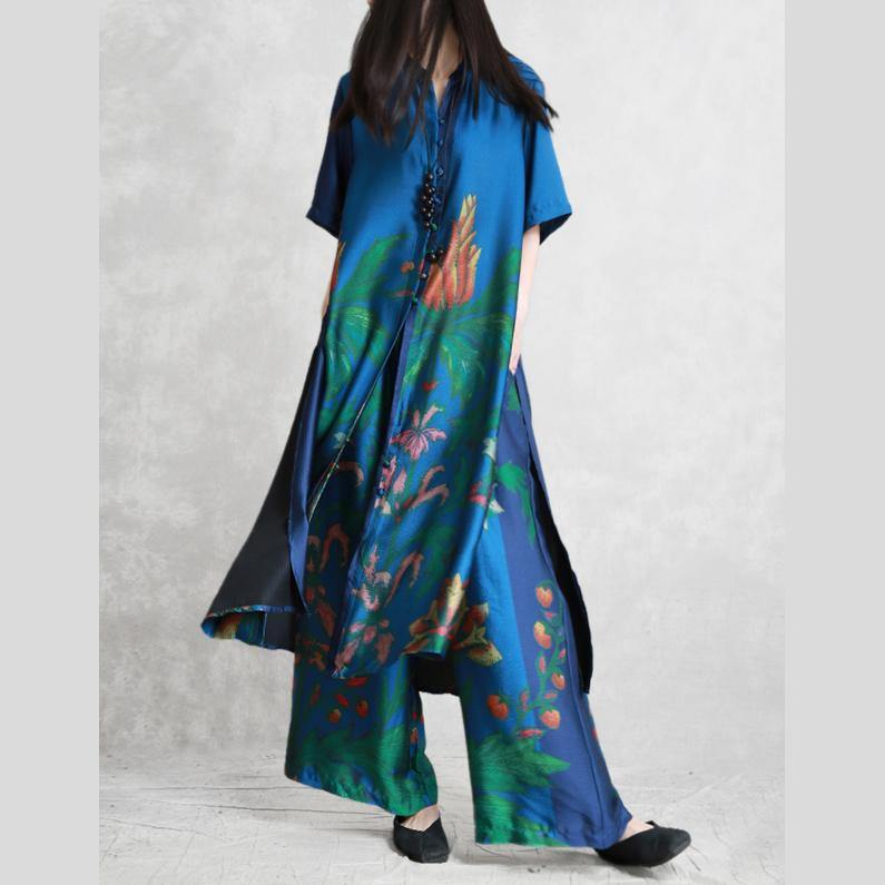 Retro blue silk two-piece female loose collar literary printing long cardigan wide leg pants summer