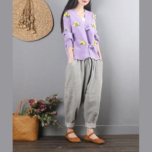 Retro female light gray casual corduroy pants large size loose harem pants