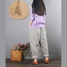 Laden Sie das Bild in den Galerie-Viewer, Retro female light gray casual corduroy pants large size loose harem pants