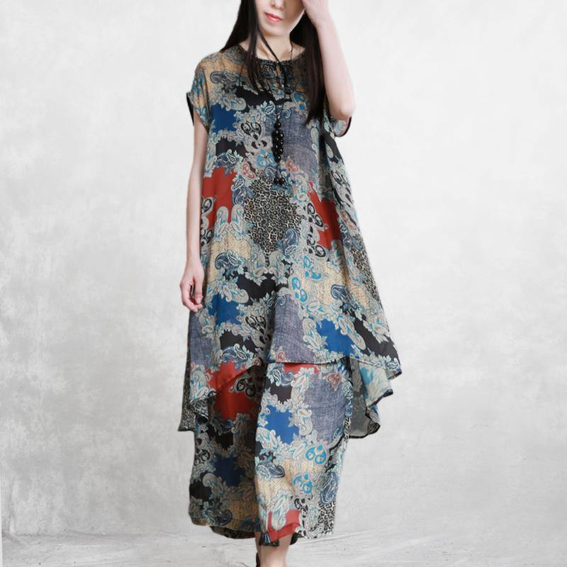 Retro light silky print two-piece ladies loose and elegant long shirt casual pants