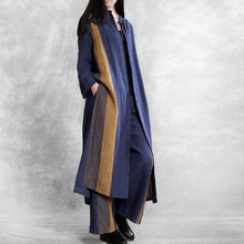 Load image into Gallery viewer, Retro loose linen long suit female large size blue striped cardigan 20 spring two-piece