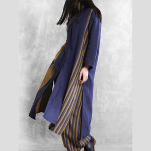 Retro loose linen long suit female large size blue striped cardigan 20 spring two-piece