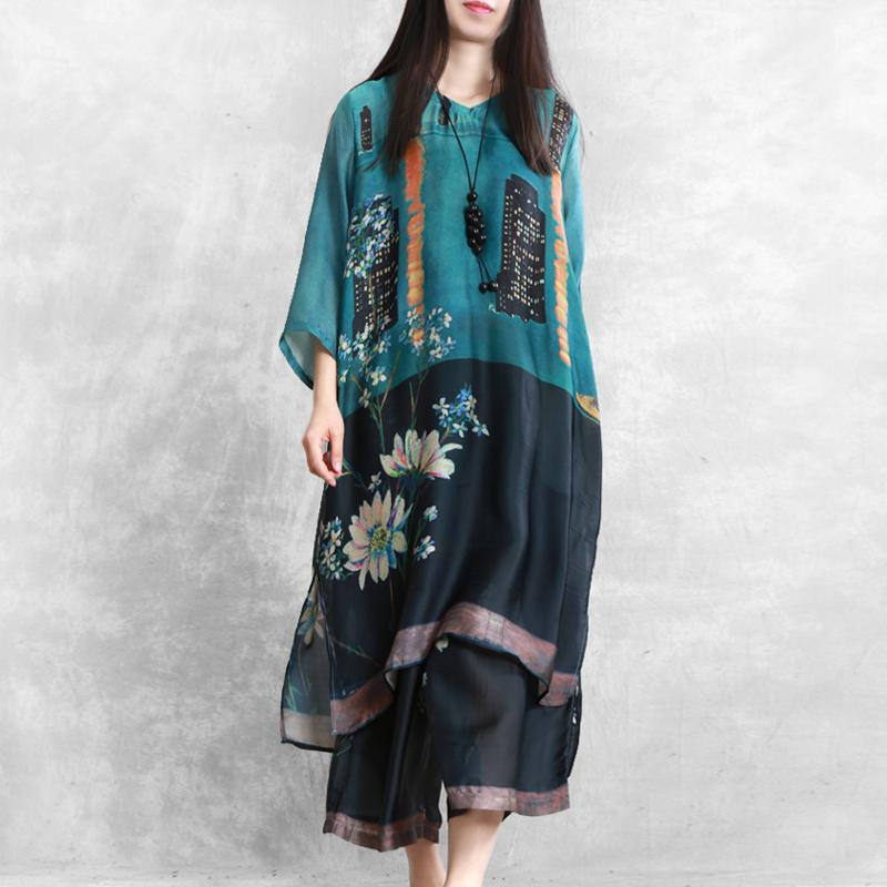 Retro national style large size blended blue printed silk suit women loose shirt + casual cropped pants