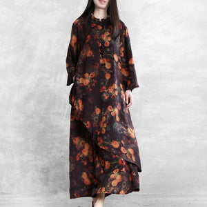 Retro stand collar printing irregular loose suit female 20 spring casual original two-piece suit