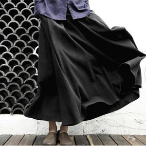 Retro A line linen maxi skirts long casual cotton skirts vintage