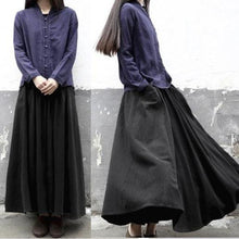 Load image into Gallery viewer, Retro A line linen maxi skirts long casual cotton skirts vintage
