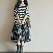Load image into Gallery viewer, Retro Dotted linen skirt summer ankle length skirts unique desgin