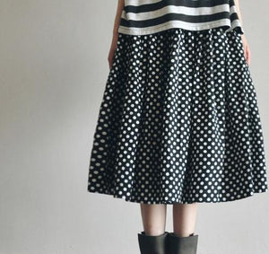Retro Dotted linen skirt summer ankle length skirts unique desgin