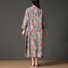 Load image into Gallery viewer, Retro Multicolor Stand Collar Autumn Long Dress