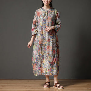 Retro Multicolor Stand Collar Autumn Long Dress