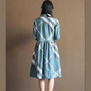 Retro New design plaid cotton sundress plus size summer dresses in blue