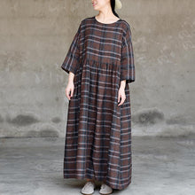 Load image into Gallery viewer, Retro Plaid Simple Spliced Loose Dress