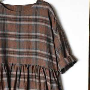 Retro Plaid Simple Spliced Loose Dress