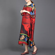 Load image into Gallery viewer, Retro Print Round Neck A-Line Women Dress