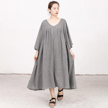 Load image into Gallery viewer, Retro V Neck Three Quarter Sleeve Loose Gray Dress