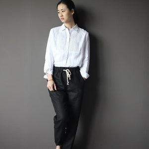 Retro White linen women blouse shirt top