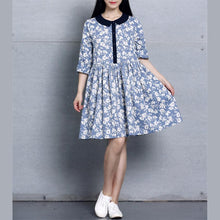 Load image into Gallery viewer, Retro blue floral print cotton dress spring linen dresses loose fitting