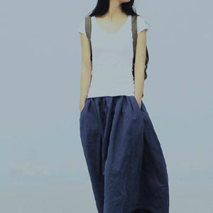 Retro blue linen skirts Summer pockets pleated skirt long maxi skirts