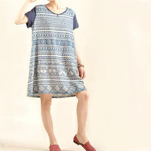 Load image into Gallery viewer, Retro blue print cotton linen shift dress casual sundress