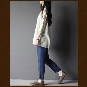 Retro blue women linen pants trousers
