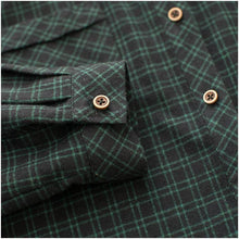 Load image into Gallery viewer, Retro green plaid Bottoming Shirt dress puls size casaul cotton long sleeve dress