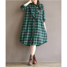 Load image into Gallery viewer, Retro green plaid cotton shirt dress plus size cotton dresses long sleeve
