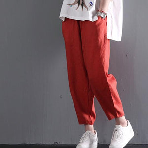 Retro linen pants women summer long pants
