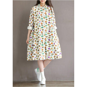 Retro print linen dress large pocket floral sundress cotton traveling dresses