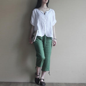 Retro white women linen blouse shirt top loose fitting