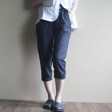Load image into Gallery viewer, Retro women Linen pants Navy cotton trousers