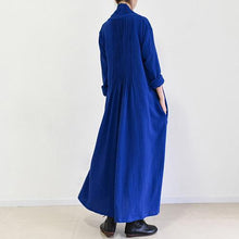 Load image into Gallery viewer, Rooyal blue plus size linen cardigans plus size maxi dress