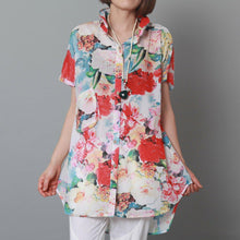 Load image into Gallery viewer, Rose flower print cotton summer dress casual sundress