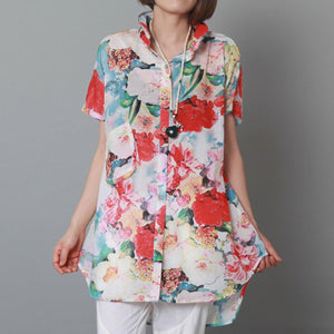 Rose flower print cotton summer dress casual sundress