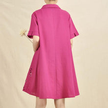 Load image into Gallery viewer, Rose hollowed plus size casual sundress linen dress
