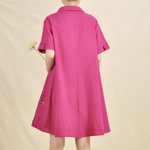 Rose hollowed plus size casual sundress linen dress
